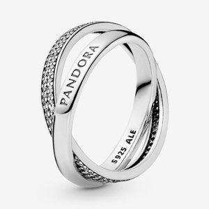 🍓Pandora Intertwined Pandora Logo and Pavé Ring